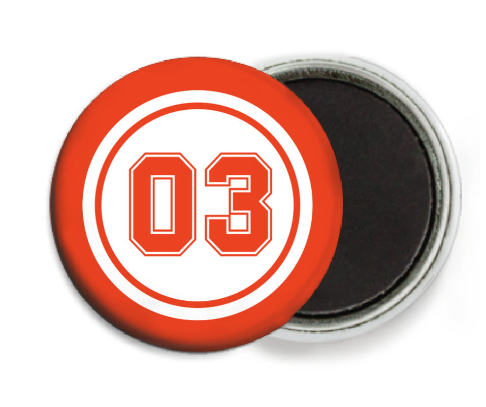 custom button magnets - white & orange - baseball (set of 6)