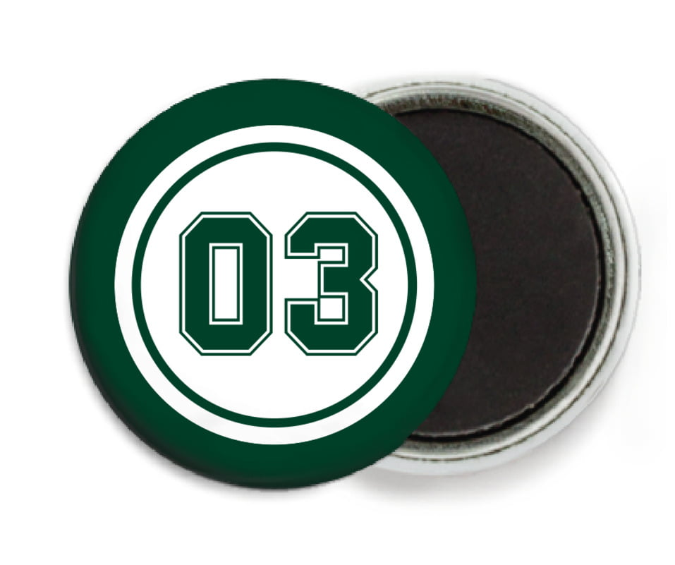 custom button magnets - white & forest - baseball (set of 6)