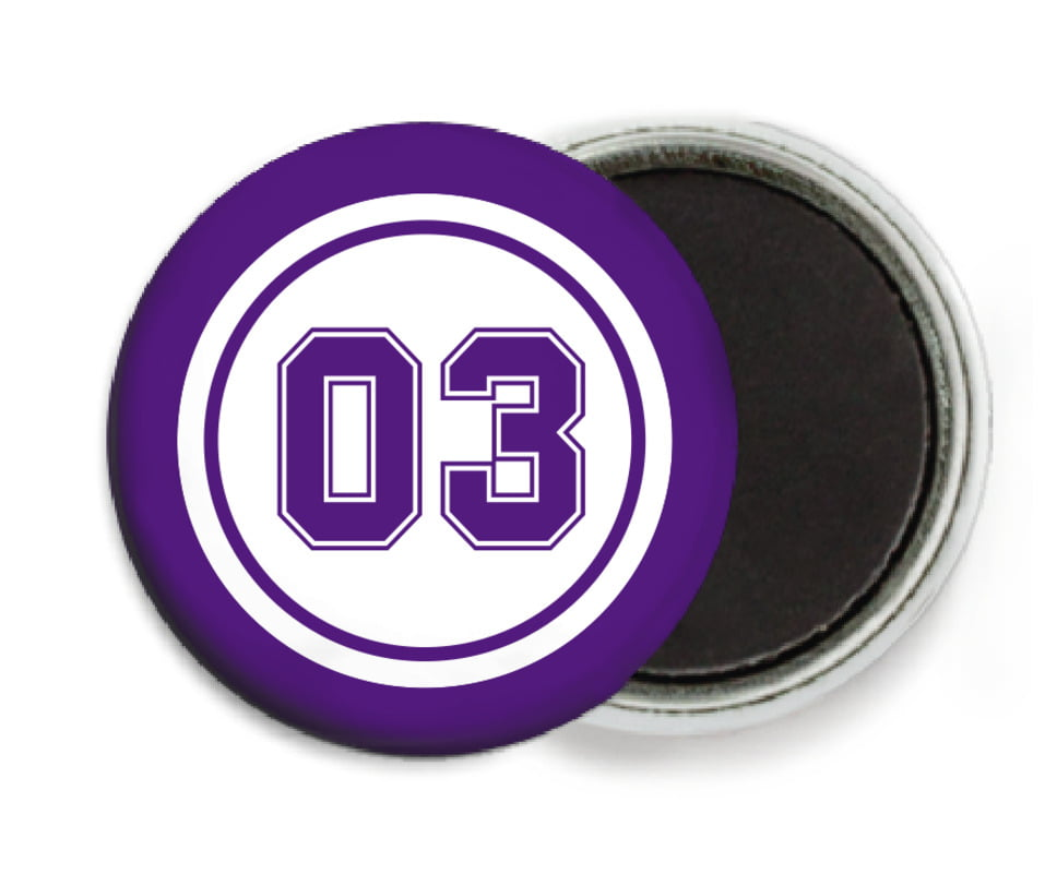 custom button magnets - white & purple - baseball (set of 6)