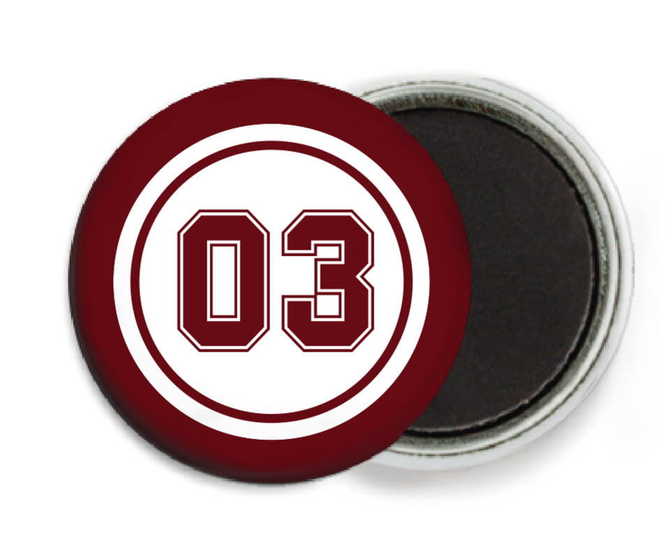 custom button magnets - white & maroon - baseball (set of 6)