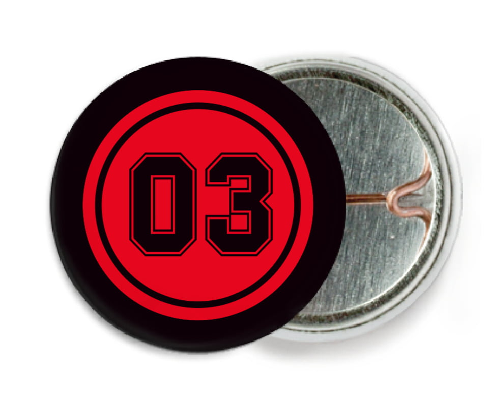 custom pin back buttons - red & black - baseball (set of 6)