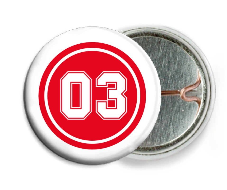 custom pin back buttons - red & white - baseball (set of 6)
