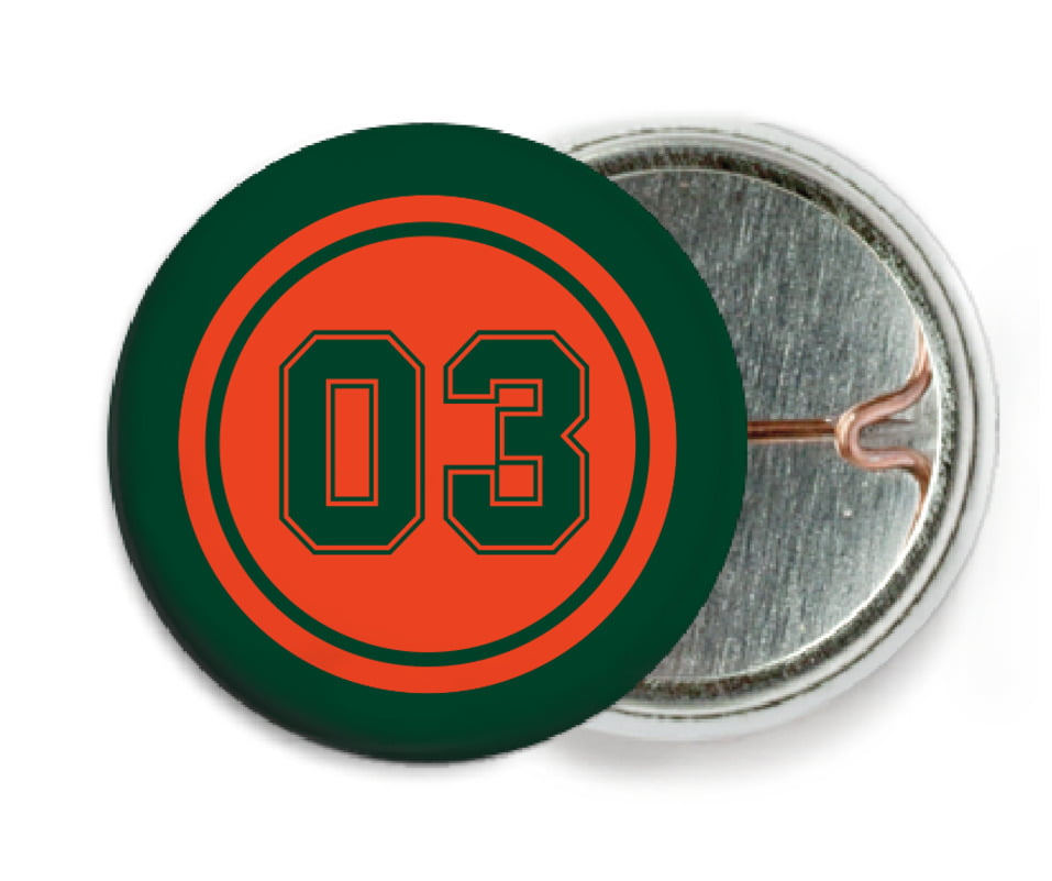 custom pin back buttons - orange & forest - baseball (set of 6)
