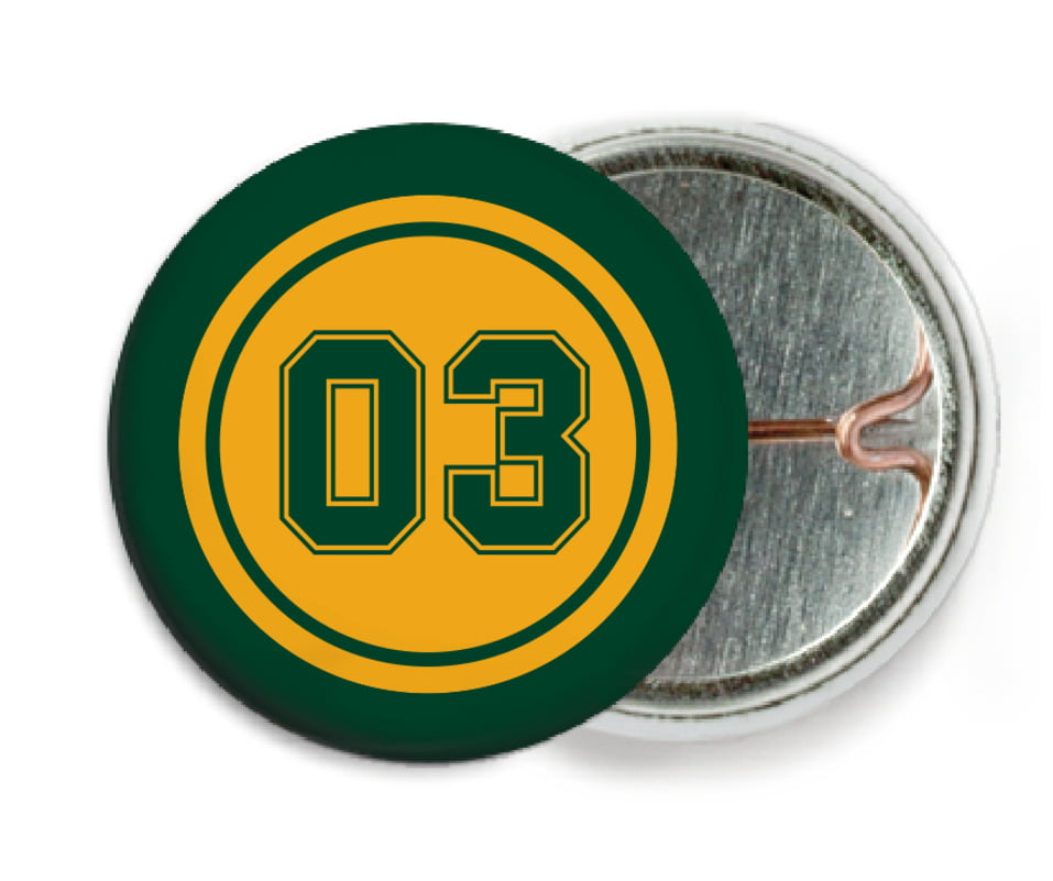 custom pin back buttons - gold & forest - baseball (set of 6)