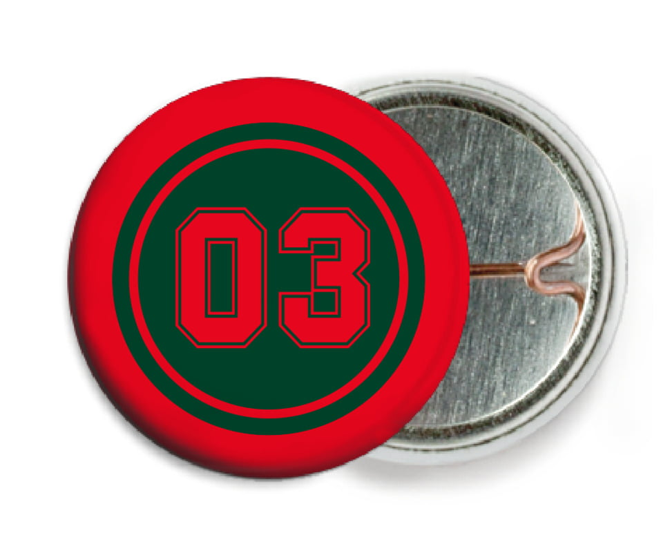 custom pin back buttons - forest & red - baseball (set of 6)