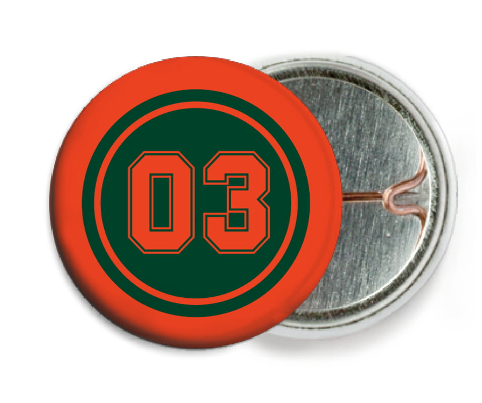 custom pin back buttons - forest & orange - baseball (set of 6)