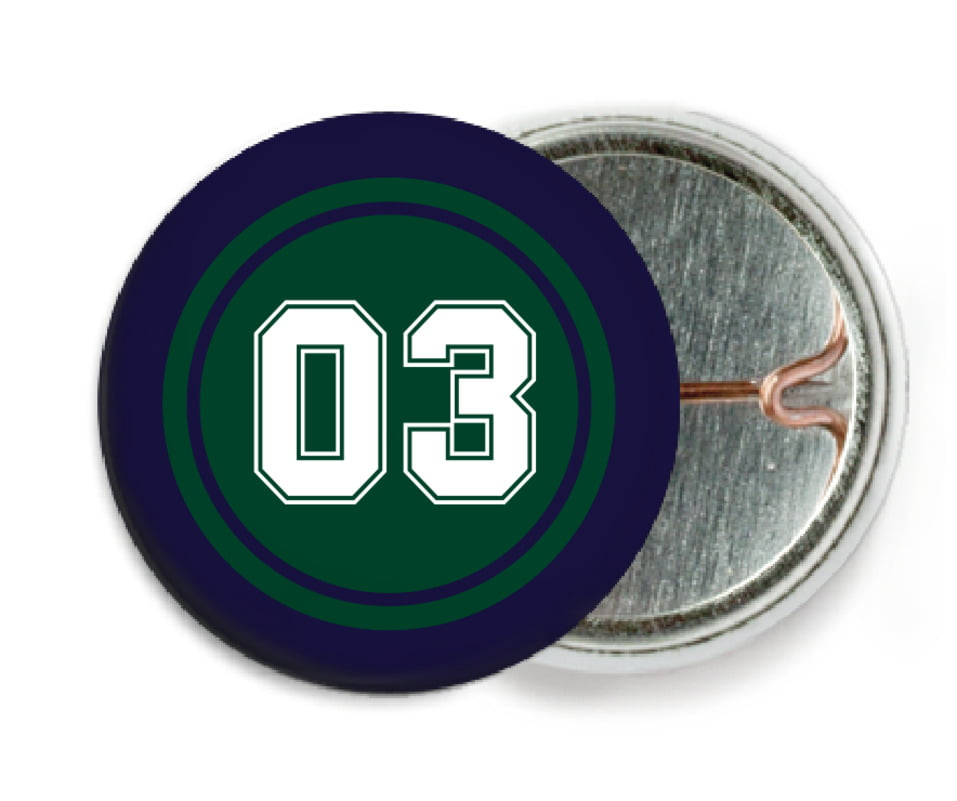 custom pin back buttons - forest & navy - baseball (set of 6)