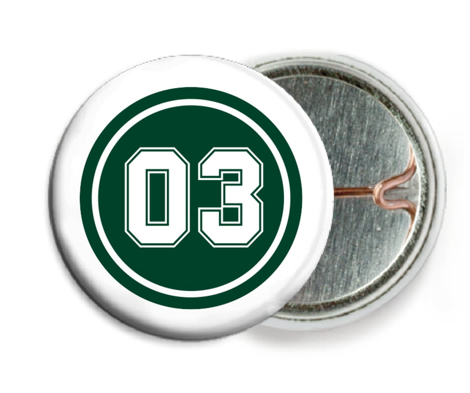 custom pin back buttons - forest & white - baseball (set of 6)