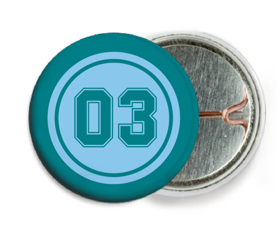 custom pin back buttons - light blue & teal - baseball (set of 6)