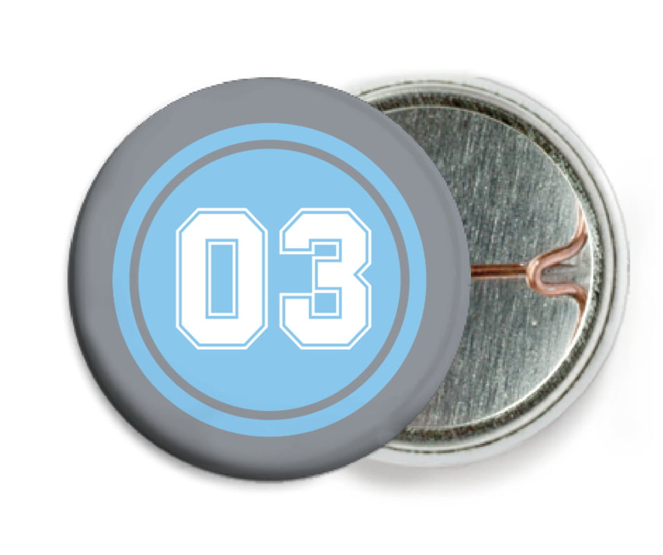 custom pin back buttons - light blue & silver - baseball (set of 6)