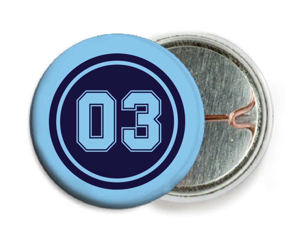 custom pin back buttons - navy & light blue - baseball (set of 6)