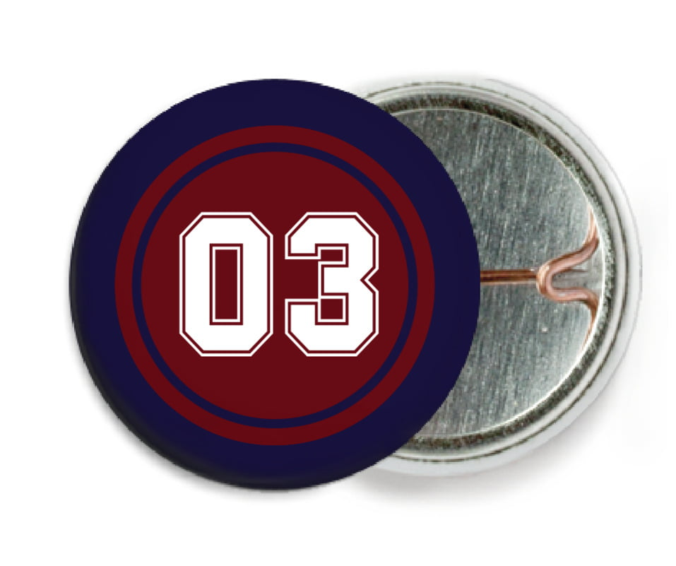 custom pin back buttons - maroon & navy - baseball (set of 6)
