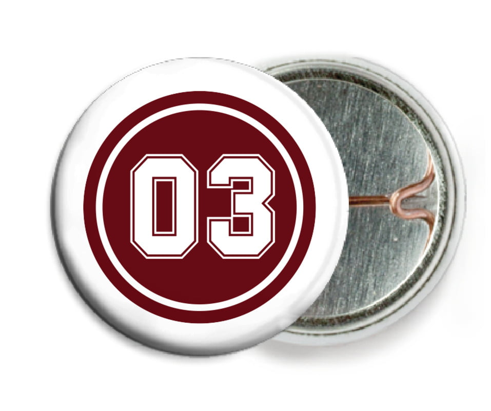 custom pin back buttons - maroon & white - baseball (set of 6)