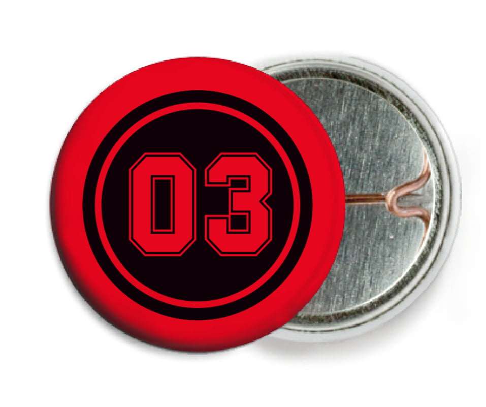 custom pin back buttons - black & red - baseball (set of 6)