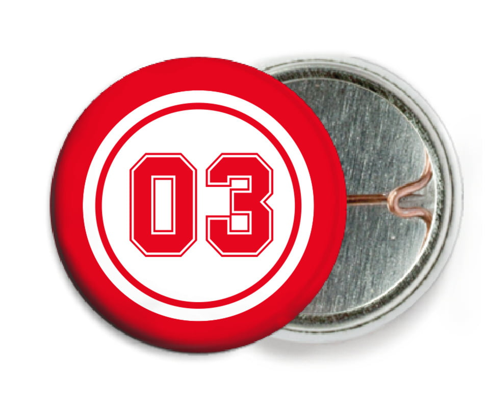 custom pin back buttons - white & red - baseball (set of 6)