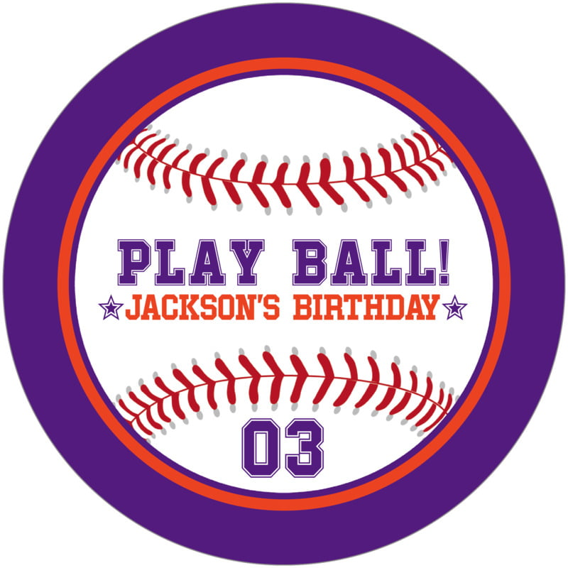 round beer coasters - orange & purple - baseball (set of 12)