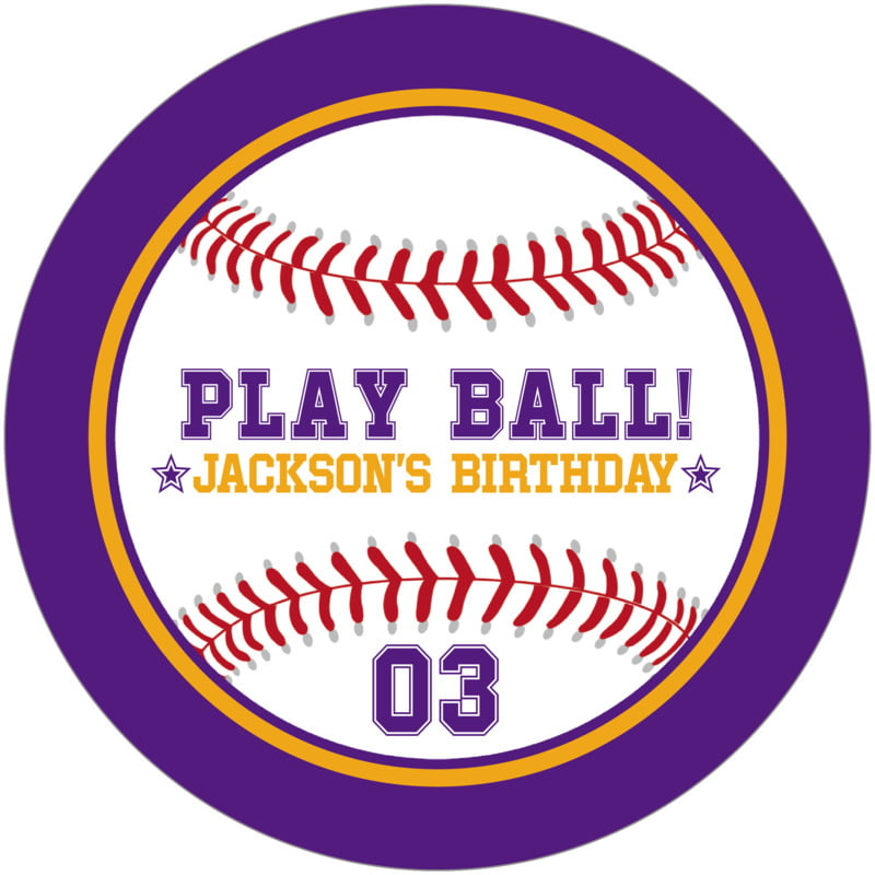 round beer coasters - gold & purple - baseball (set of 12)