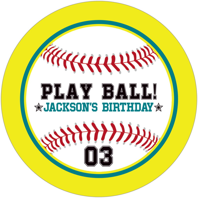 round beer coasters - teal & yellow - baseball (set of 12)