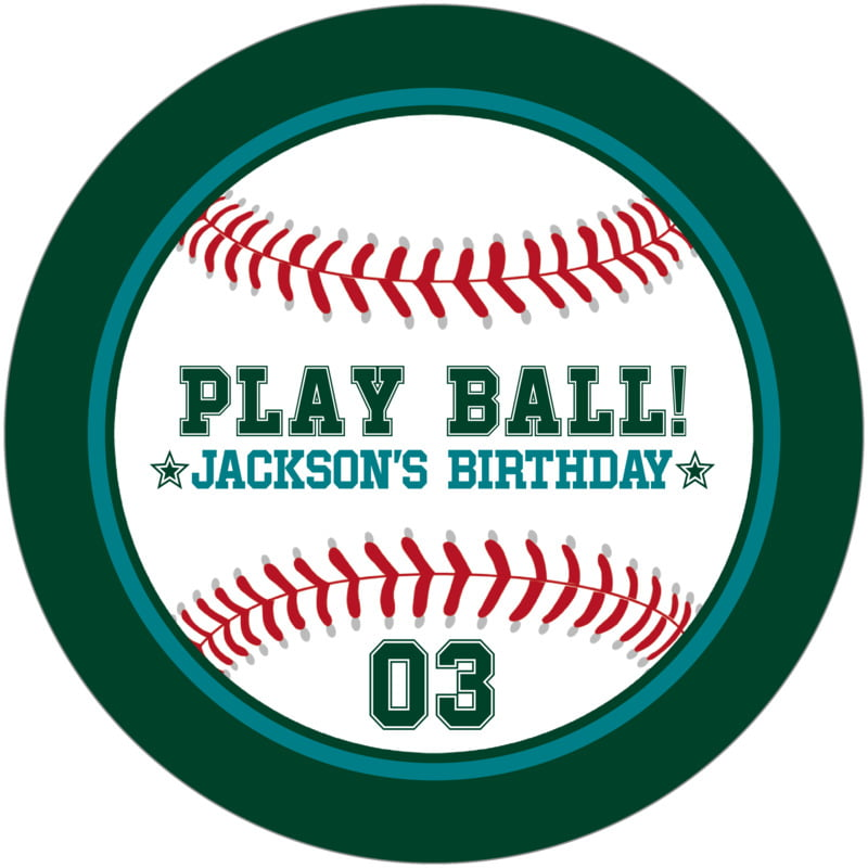 round beer coasters - teal & forest - baseball (set of 12)