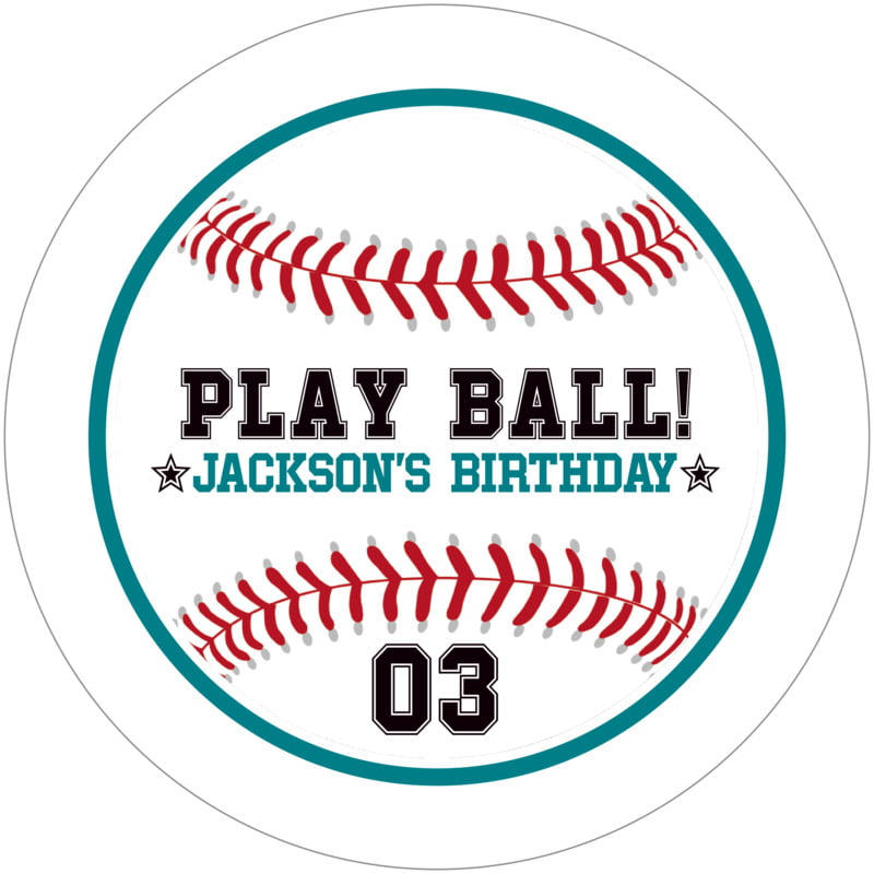 round beer coasters - teal & white - baseball (set of 12)