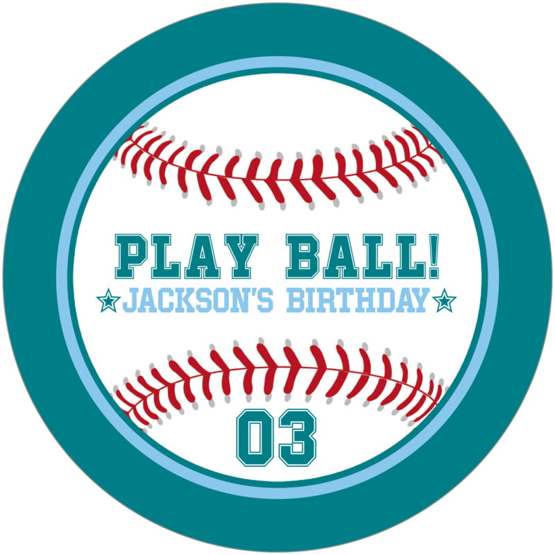 round beer coasters - light blue & teal - baseball (set of 12)