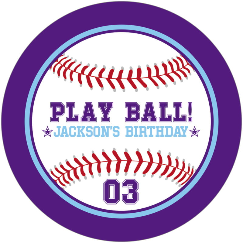 round beer coasters - light blue & purple - baseball (set of 12)