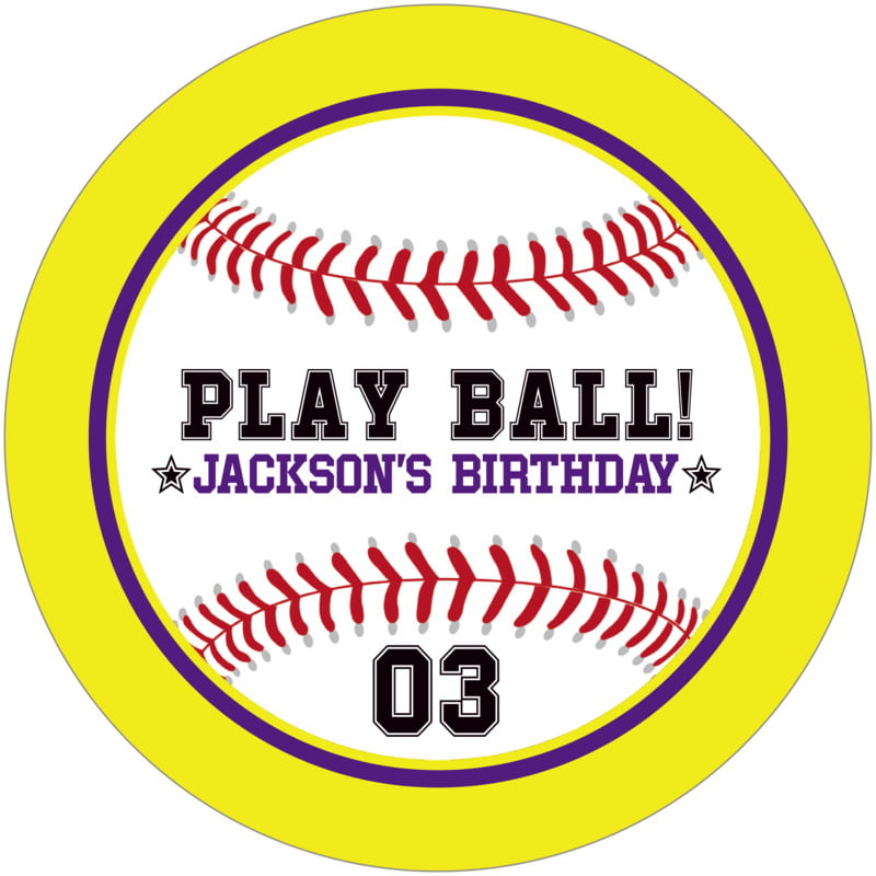 round beer coasters - purple & yellow - baseball (set of 12)