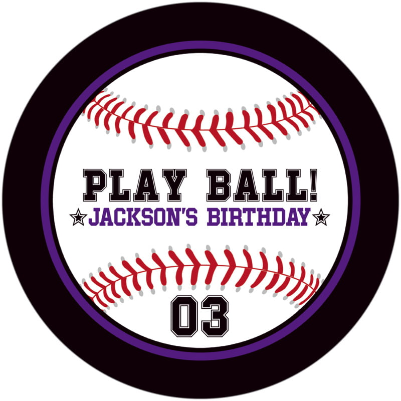 round beer coasters - purple & black - baseball (set of 12)