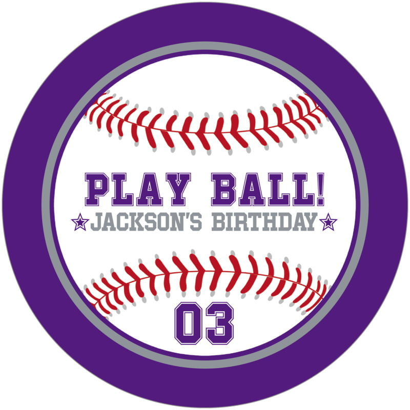 round beer coasters - silver & purple - baseball (set of 12)