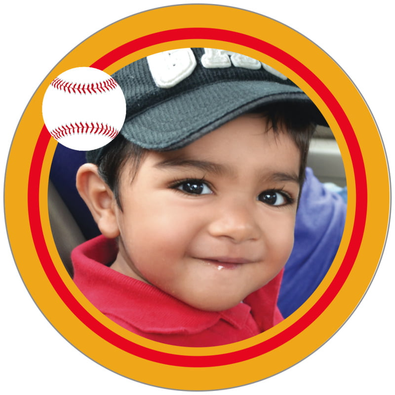 circle photo labels - red & gold - baseball (set of 20)