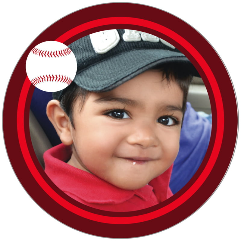 circle photo labels - red & maroon - baseball (set of 20)