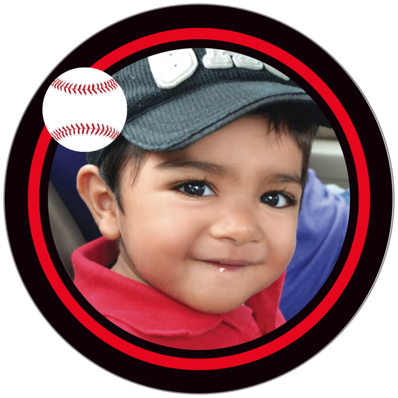 circle photo labels - red & black - baseball (set of 20)