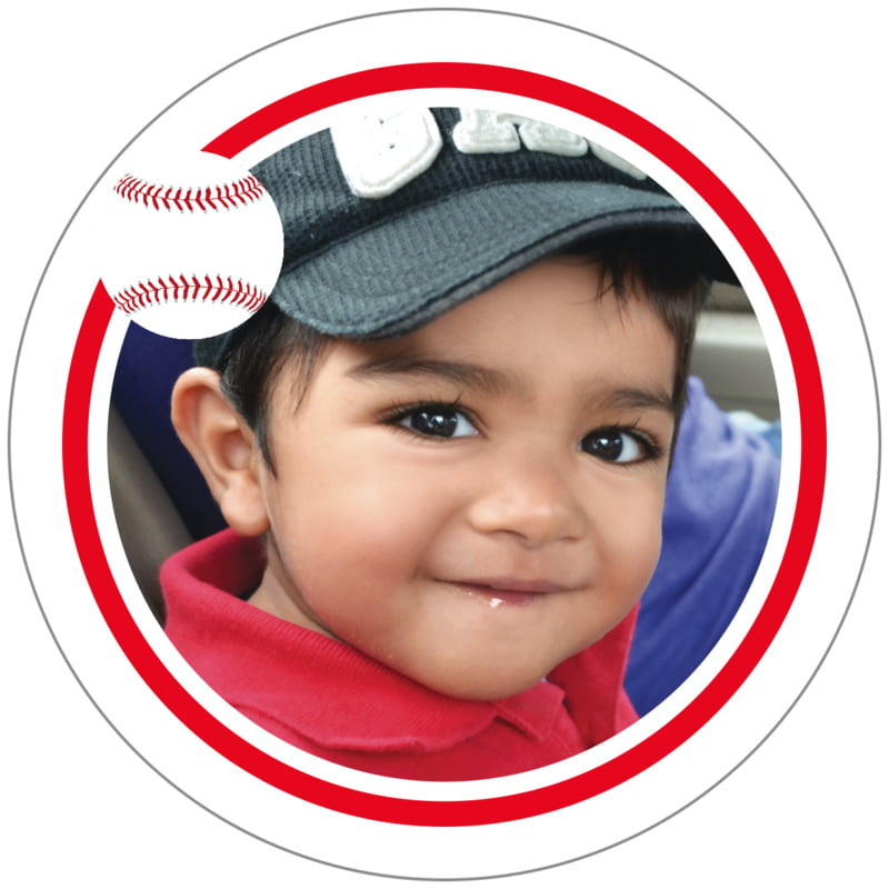 circle photo labels - red & white - baseball (set of 20)