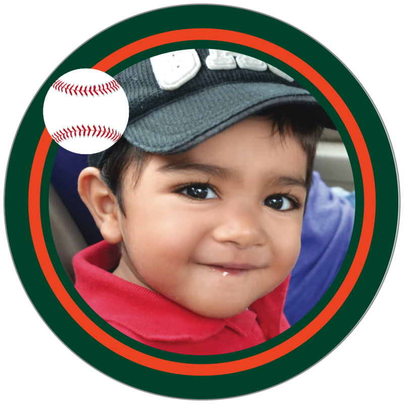 circle photo labels - orange & forest - baseball (set of 20)