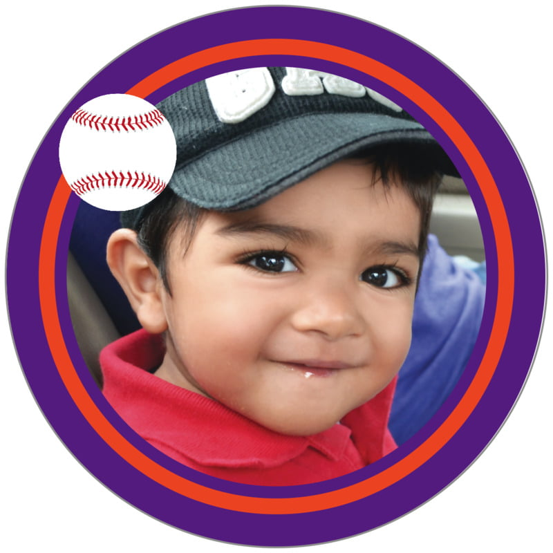 circle photo labels - orange & purple - baseball (set of 20)
