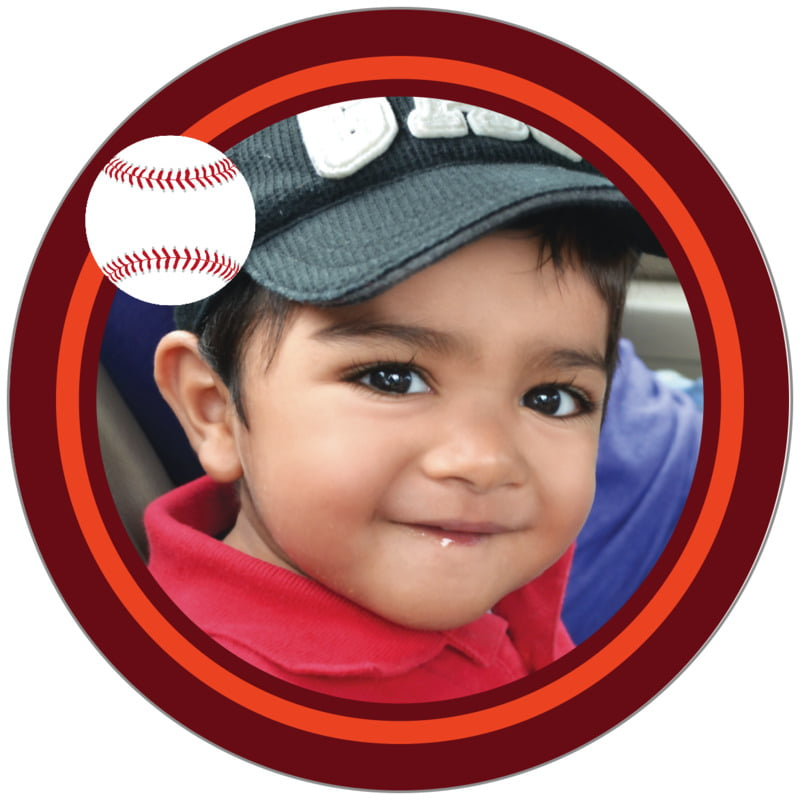 circle photo labels - orange & maroon - baseball (set of 20)