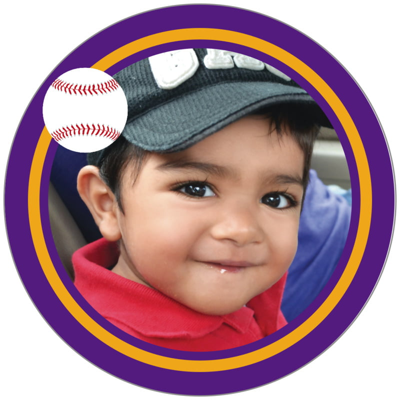 circle photo labels - gold & purple - baseball (set of 20)