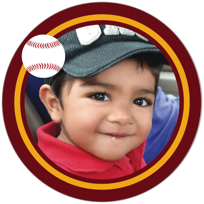 circle photo labels - gold & maroon - baseball (set of 20)