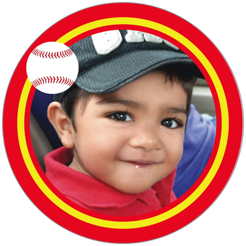 circle photo labels - yellow & red - baseball (set of 20)