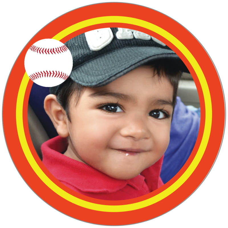 circle photo labels - yellow & orange - baseball (set of 20)