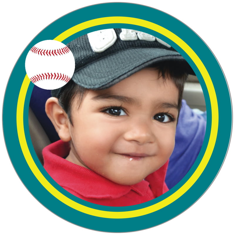 circle photo labels - yellow & teal - baseball (set of 20)