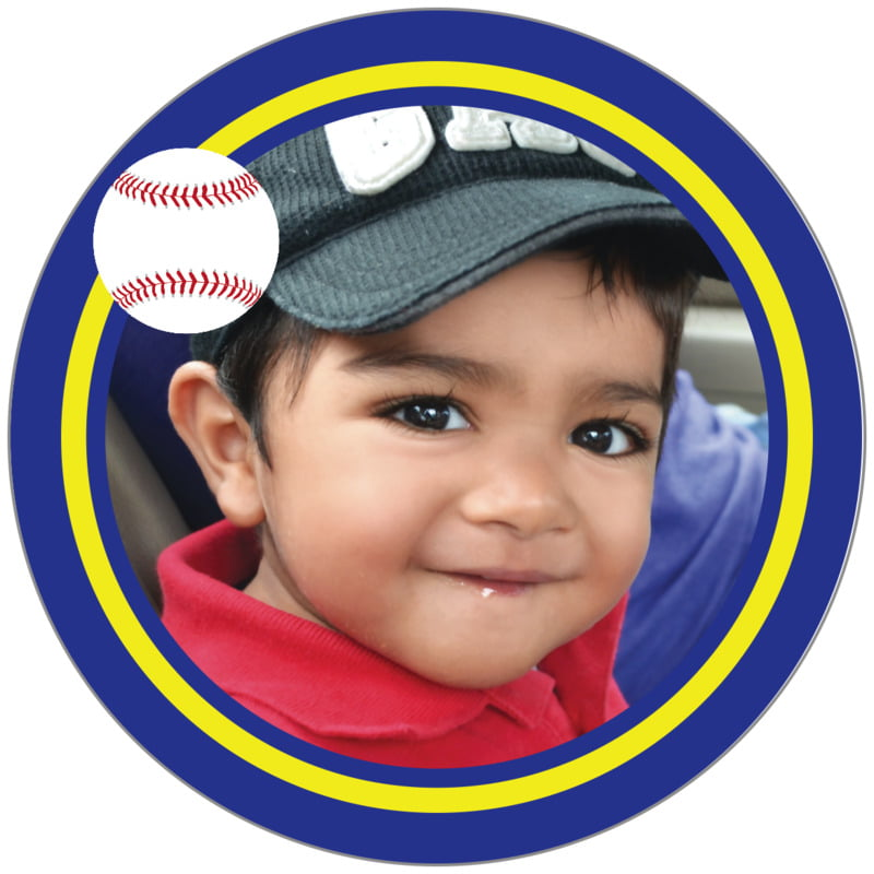 circle photo labels - yellow & royal - baseball (set of 20)