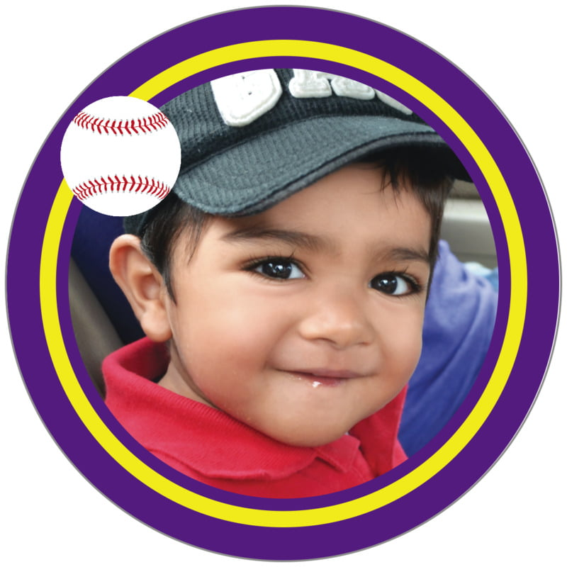 circle photo labels - yellow & purple - baseball (set of 20)