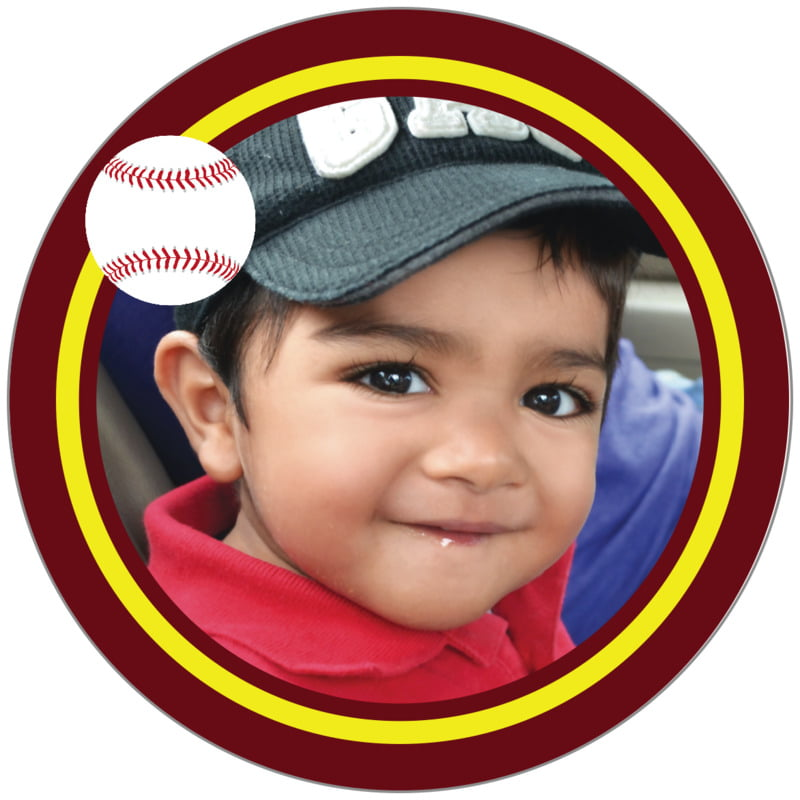 circle photo labels - yellow & maroon - baseball (set of 20)