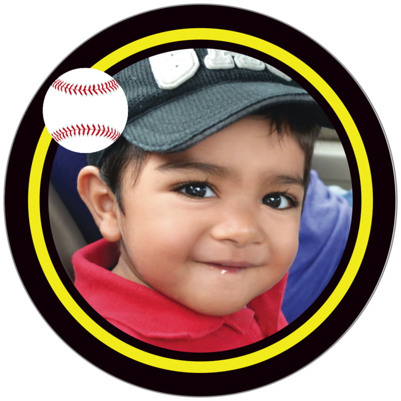 circle photo labels - yellow & black - baseball (set of 20)