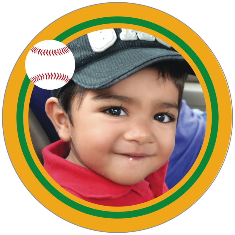 circle photo labels - green & gold - baseball (set of 20)