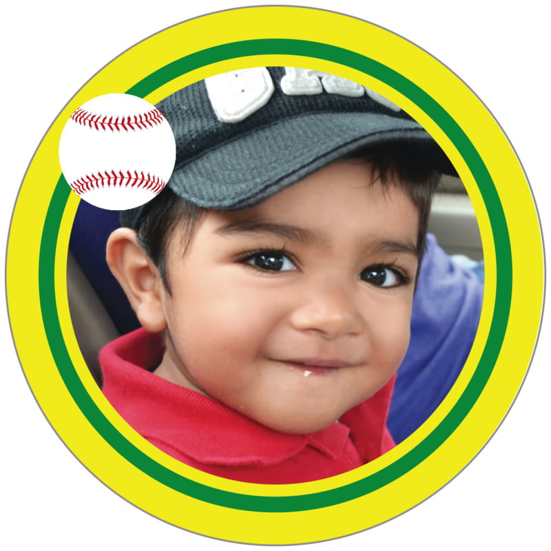 circle photo labels - green & yellow - baseball (set of 20)