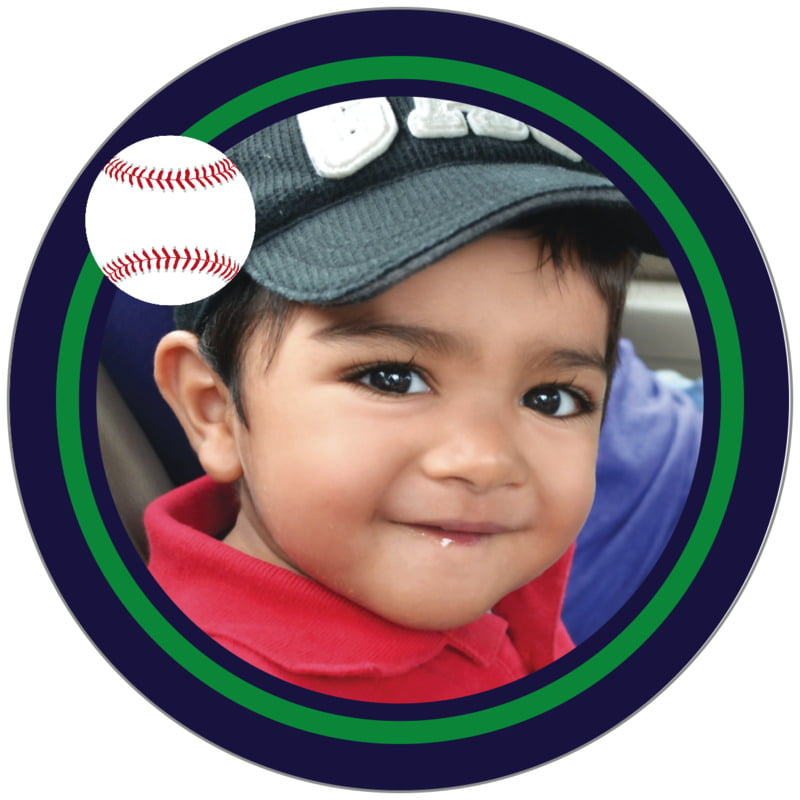circle photo labels - green & navy - baseball (set of 20)