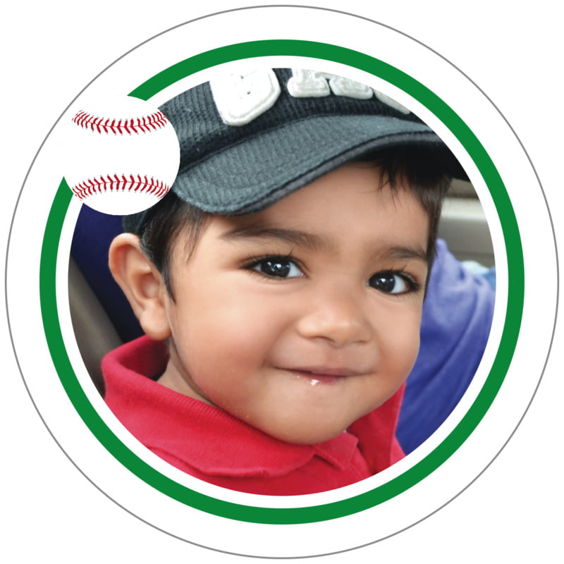 circle photo labels - green & white - baseball (set of 20)