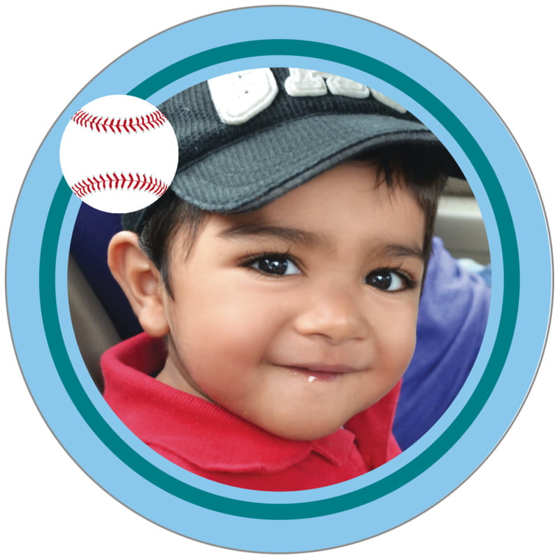 circle photo labels - teal & light blue - baseball (set of 20)